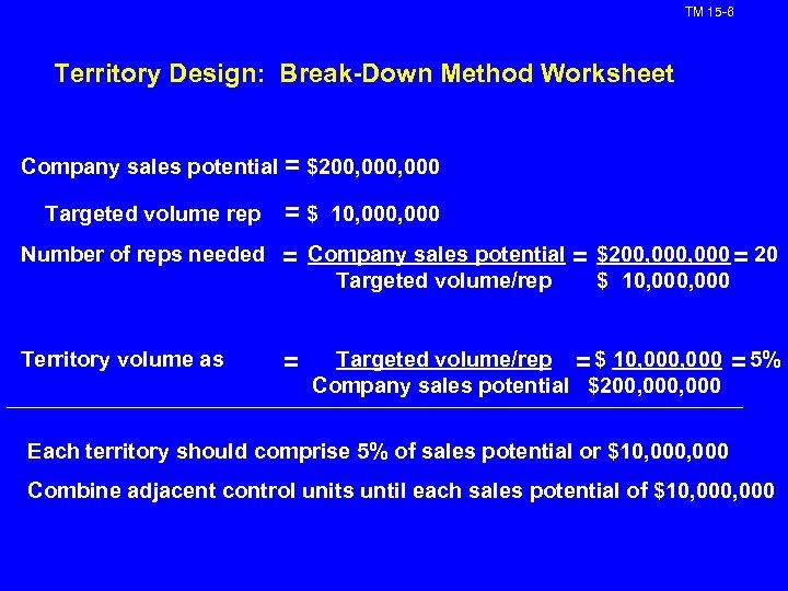 TM 15 -6 Territory Design: Break-Down Method Worksheet Company sales potential = $200, 000