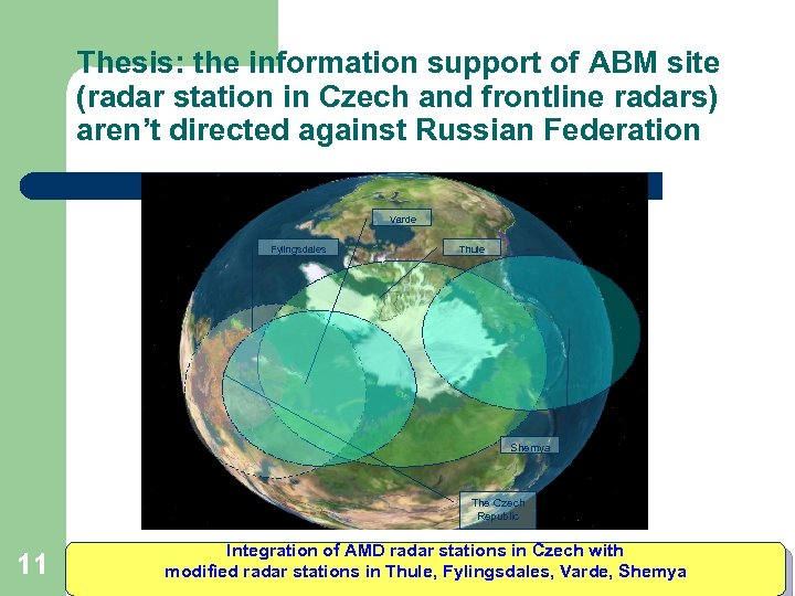 Thesis: the information support of ABM site (radar station in Czech and frontline radars)