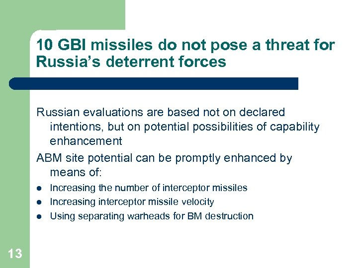 10 GBI missiles do not pose a threat for Russia's deterrent forces Russian evaluations