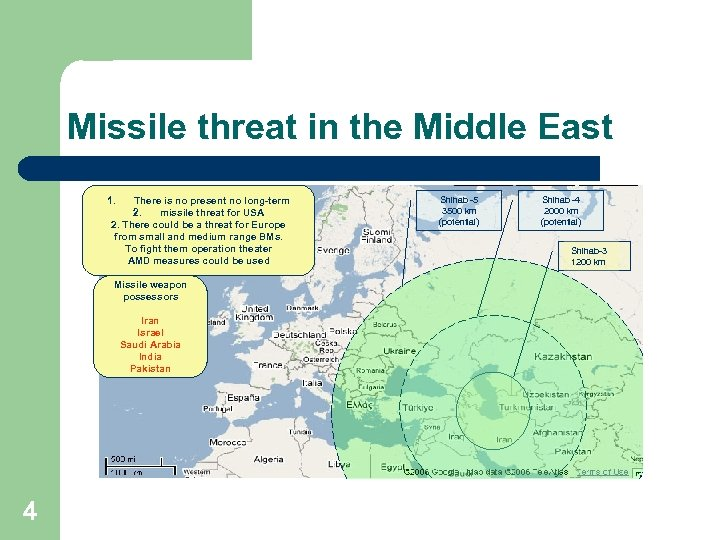 Missile threat in the Middle East 1. There is no present no long-term 2.