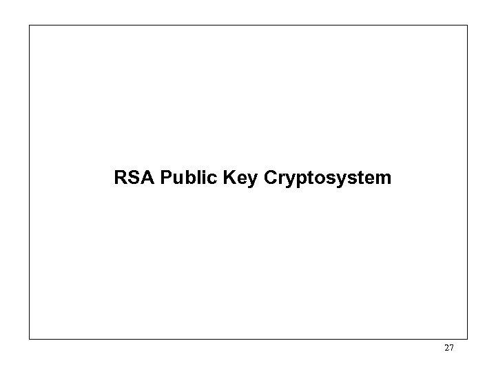 RSA Public Key Cryptosystem 27