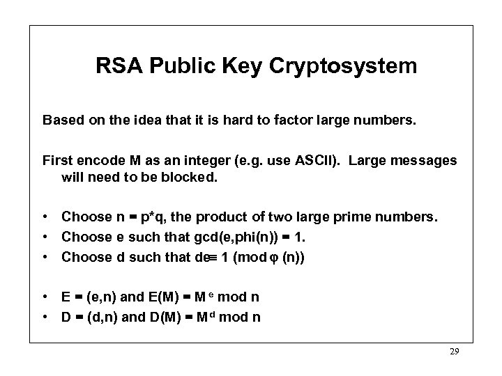 RSA Public Key Cryptosystem Based on the idea that it is hard to factor