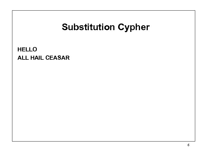 Substitution Cypher HELLO ALL HAIL CEASAR 6