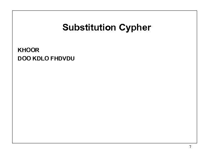 Substitution Cypher KHOOR DOO KDLO FHDVDU 7