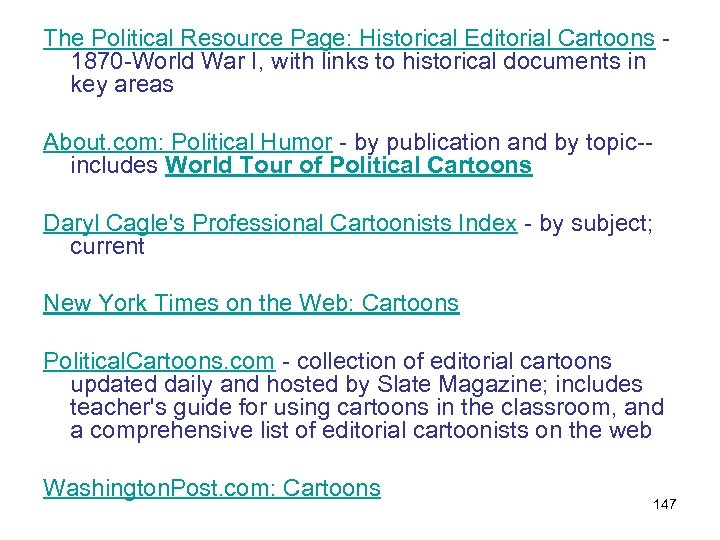 The Political Resource Page: Historical Editorial Cartoons - 1870 -World War I, with links