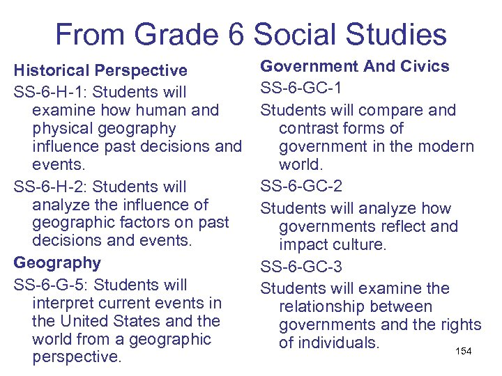 From Grade 6 Social Studies Historical Perspective SS-6 -H-1: Students will examine how human