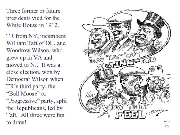 Three former or future presidents vied for the White House in 1912. TR from