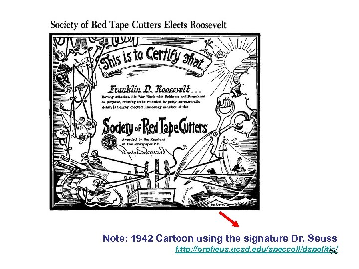 Note: 1942 Cartoon using the signature Dr. Seuss http: //orpheus. ucsd. edu/speccoll/dspolitic/ 50