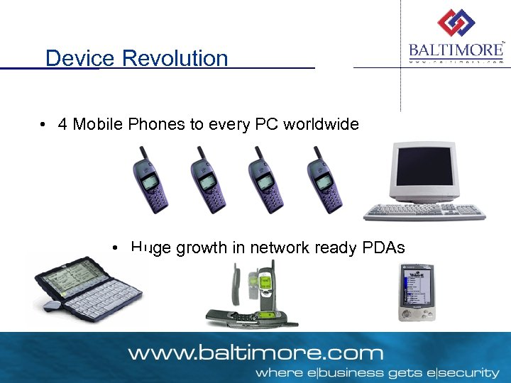 Device Revolution • 4 Mobile Phones to every PC worldwide • Huge growth in