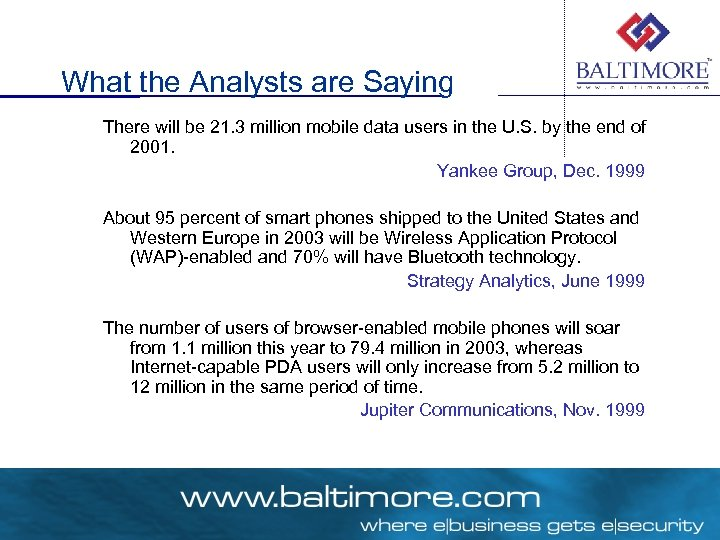 What the Analysts are Saying There will be 21. 3 million mobile data users