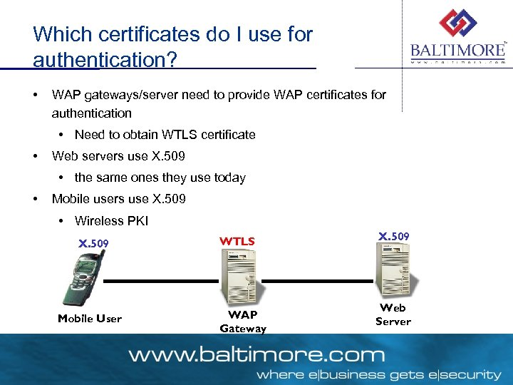 Which certificates do I use for authentication? • WAP gateways/server need to provide WAP