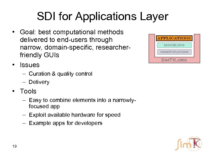 SDI for Applications Layer • Goal: best computational methods delivered to end-users through narrow,