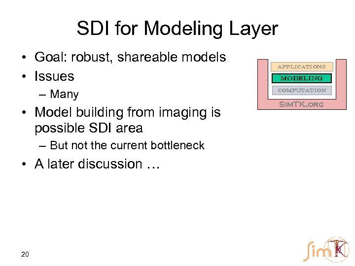 SDI for Modeling Layer • Goal: robust, shareable models • Issues – Many •
