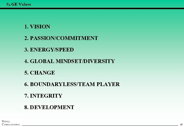 5). GE Values 1. VISION 2. PASSION/COMMITMENT 3. ENERGY/SPEED 4. GLOBAL MINDSET/DIVERSITY 5. CHANGE