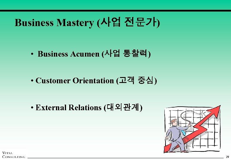 Business Mastery (사업 전문가) • Business Acumen (사업 통찰력) • Customer Orientation (고객 중심)