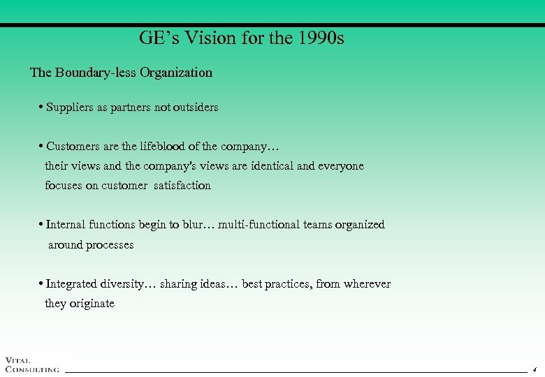GE's Vision for the 1990 s The Boundary-less Organization • Suppliers as partners not
