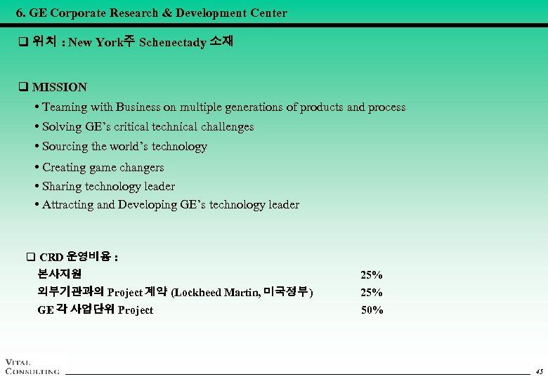 6. GE Corporate Research & Development Center q 위치 : New York주 Schenectady 소재