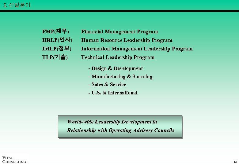 Ⅰ. 선발분야 FMP(재무) Financial Management Program HRLP(인사) Human Resource Leadership Program IMLP(정보) Information Management