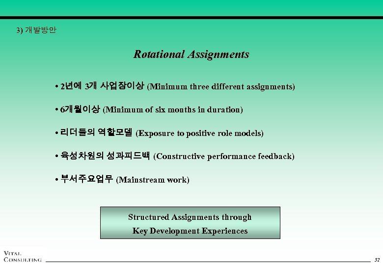 3) 개발방안 Rotational Assignments • 2년에 3개 사업장이상 (Minimum three different assignments) • 6개월이상