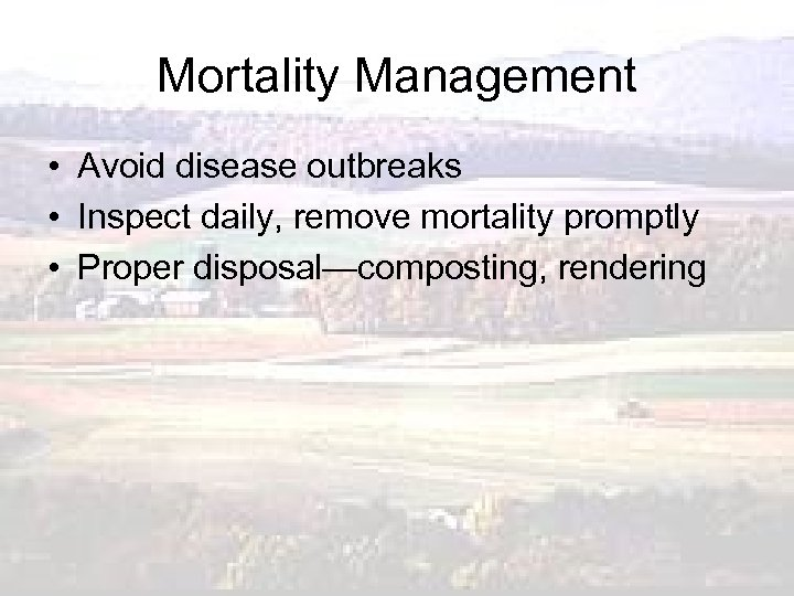 Mortality Management • Avoid disease outbreaks • Inspect daily, remove mortality promptly • Proper