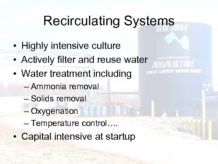 Recirculating Systems • Highly intensive culture • Actively filter and reuse water • Water