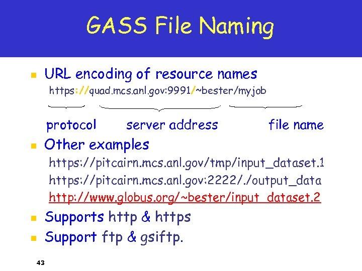 GASS File Naming n URL encoding of resource names https: //quad. mcs. anl. gov: