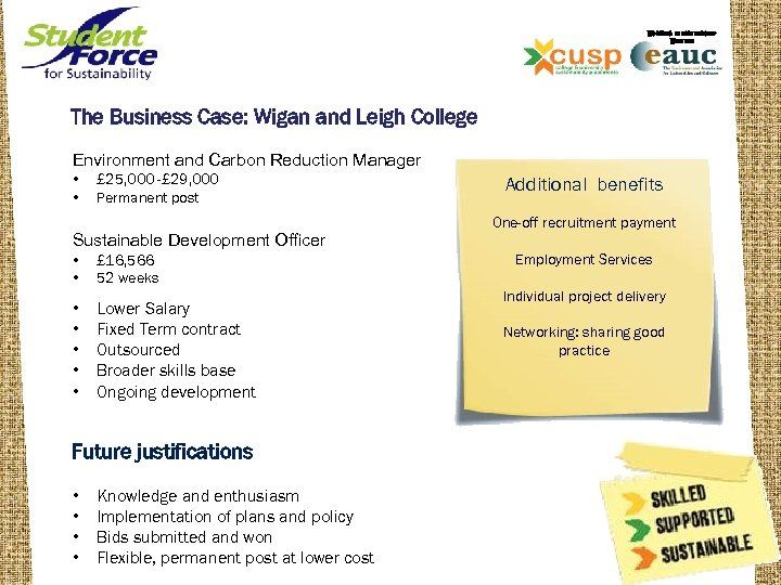 WORKING IN PARTNERSHIP WITH THE The Business Case: Wigan and Leigh College Environment and