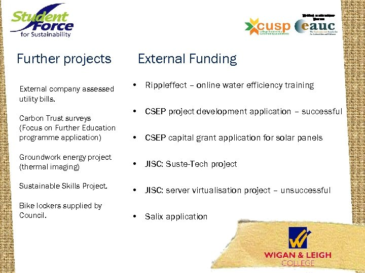 WORKING IN PARTNERSHIP WITH THE Further projects External company assessed utility bills. Carbon Trust