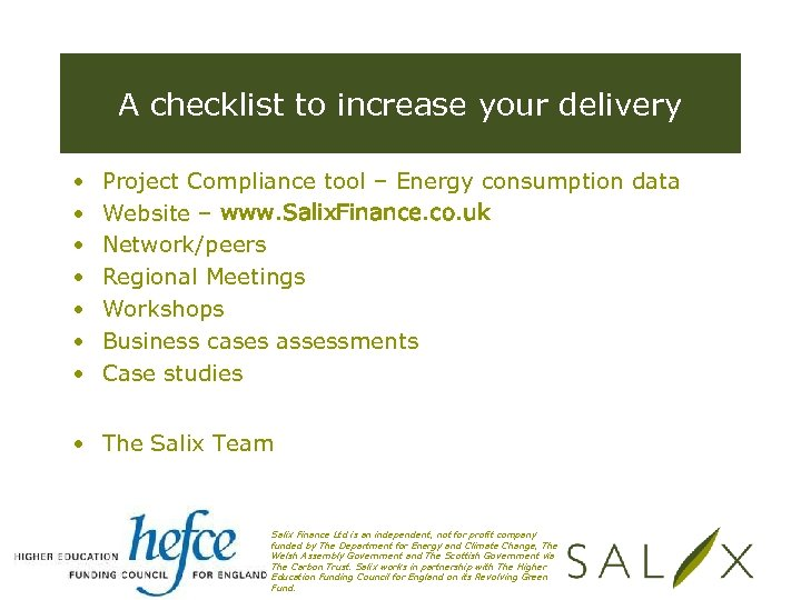 A checklist to increase your delivery • • Project Compliance tool – Energy consumption