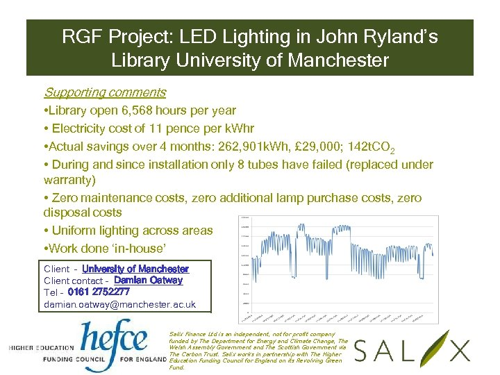 RGF Project: LED Lighting in John Ryland's Library University of Manchester Supporting comments •