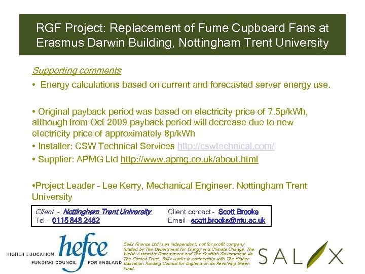 RGF Project: Replacement of Fume Cupboard Fans at Erasmus Darwin Building, Nottingham Trent University