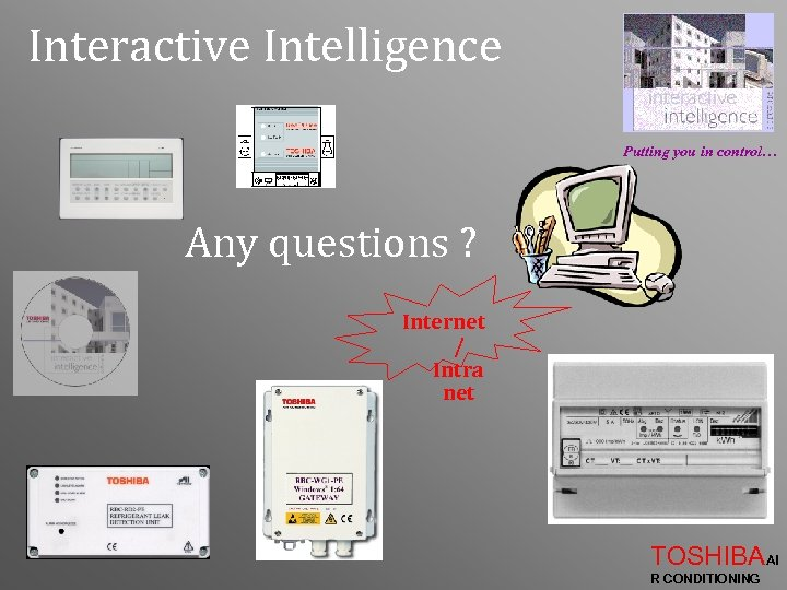 Interactive Intelligence Putting you in control… Any questions ? Internet / Intra net TOSHIBAAI