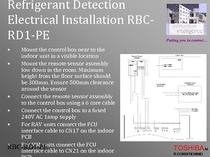 Refrigerant Detection Electrical Installation RBCRD 1 -PE Putting you in control… • Mount the