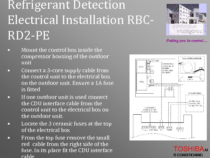 Refrigerant Detection Electrical Installation RBCRD 2 -PE • • • Mount the control box