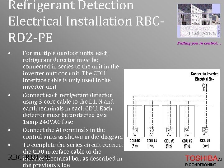 Refrigerant Detection Electrical Installation RBCRD 2 -PE Putting you in control… • For multiple