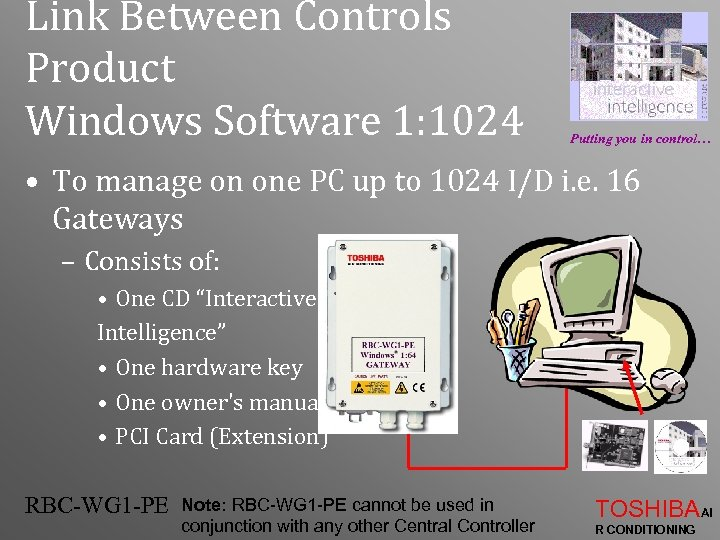 Link Between Controls Product Windows Software 1: 1024 Putting you in control… • To