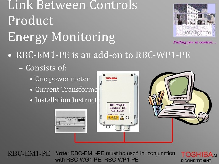 Link Between Controls Product Energy Monitoring Putting you in control… • RBC-EM 1 -PE