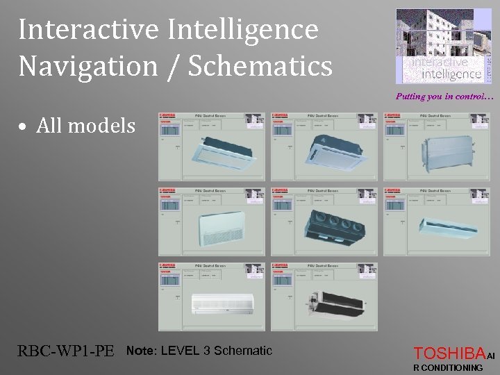 Interactive Intelligence Navigation / Schematics Putting you in control… • All models RBC-WP 1