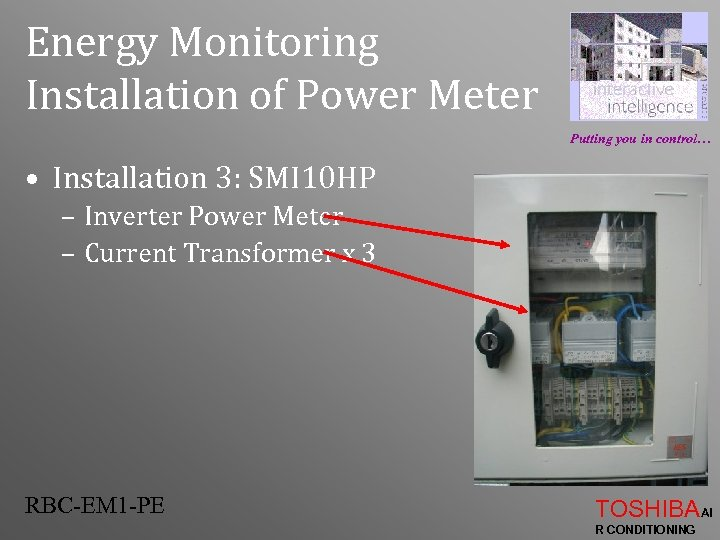 Energy Monitoring Installation of Power Meter Putting you in control… • Installation 3: SMI