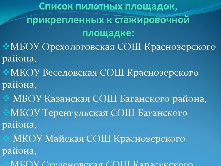 Список пилотных площадок, прикрепленных к стажировочной площадке: v. МБОУ Орехологовская СОШ Краснозерского района, v.