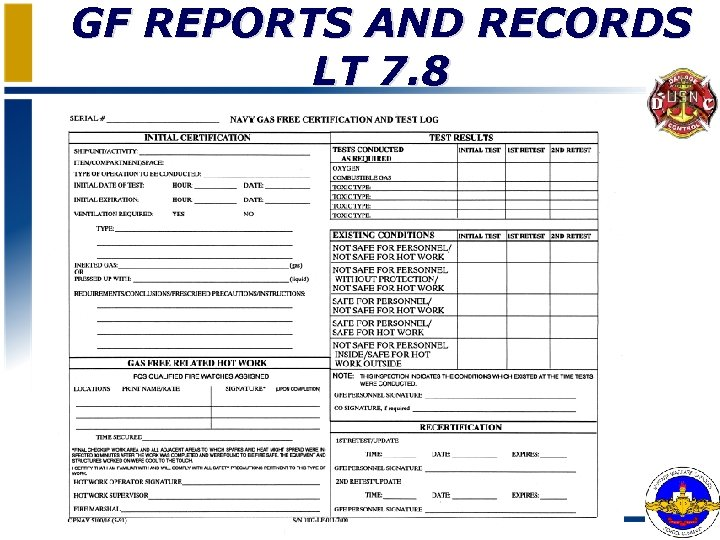 GF REPORTS AND RECORDS LT 7. 8