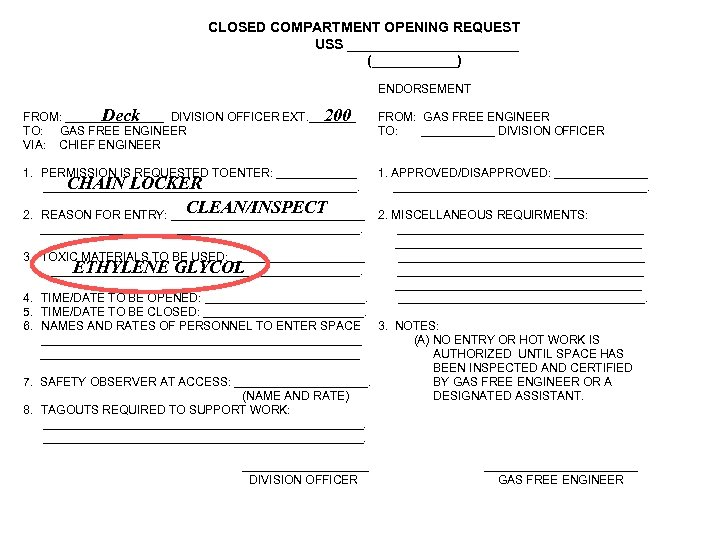 CLOSED COMPARTMENT OPENING REQUEST USS ___________ (______) ENDORSEMENT Deck 200 FROM: ________ DIVISION OFFICER
