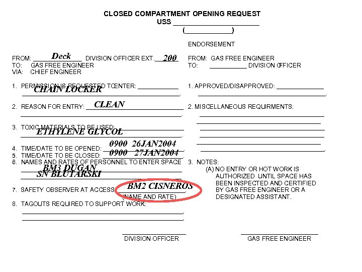 CLOSED COMPARTMENT OPENING REQUEST USS ___________ (______) ENDORSEMENT Deck _ FROM: _______ DIVISION OFFICER