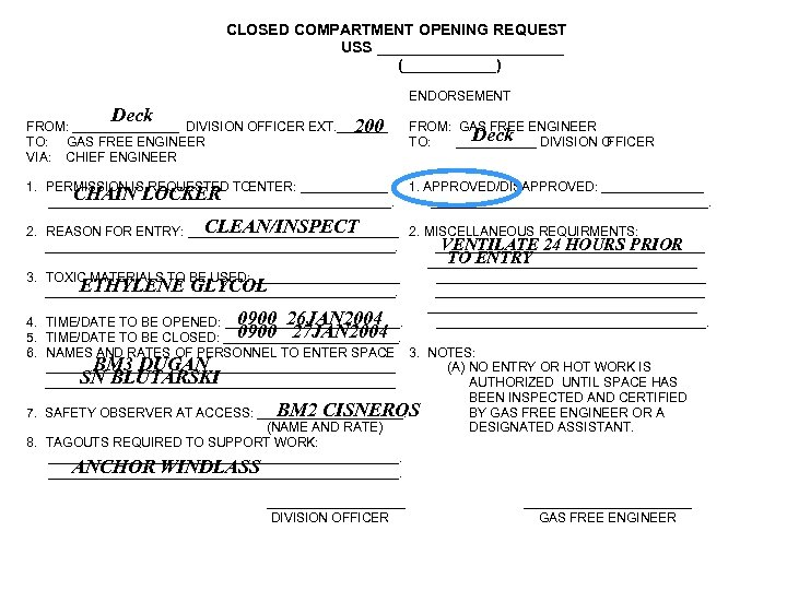 CLOSED COMPARTMENT OPENING REQUEST USS ___________ (______) ENDORSEMENT Deck FROM: _______ DIVISION OFFICER EXT.