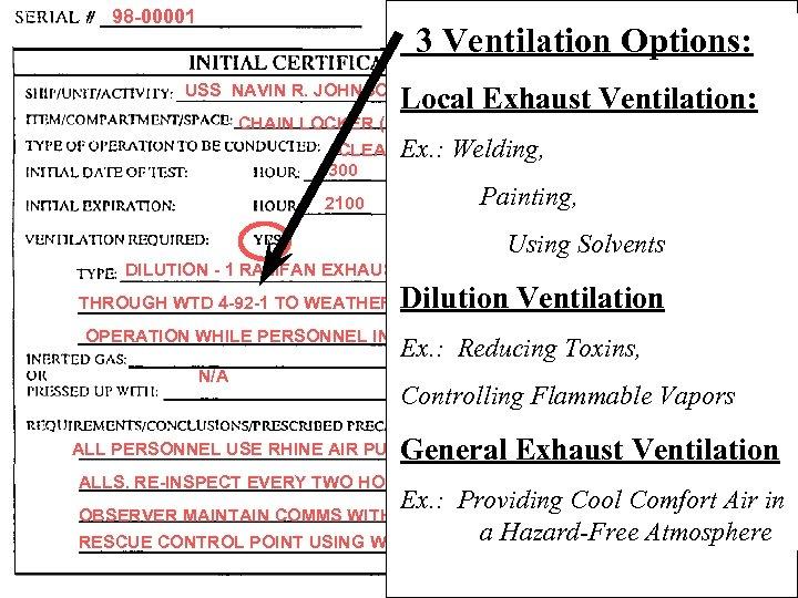 98 -00001 3 Ventilation Options: USS NAVIN R. JOHNSON Local Exhaust Ventilation: CHAIN LOCKER