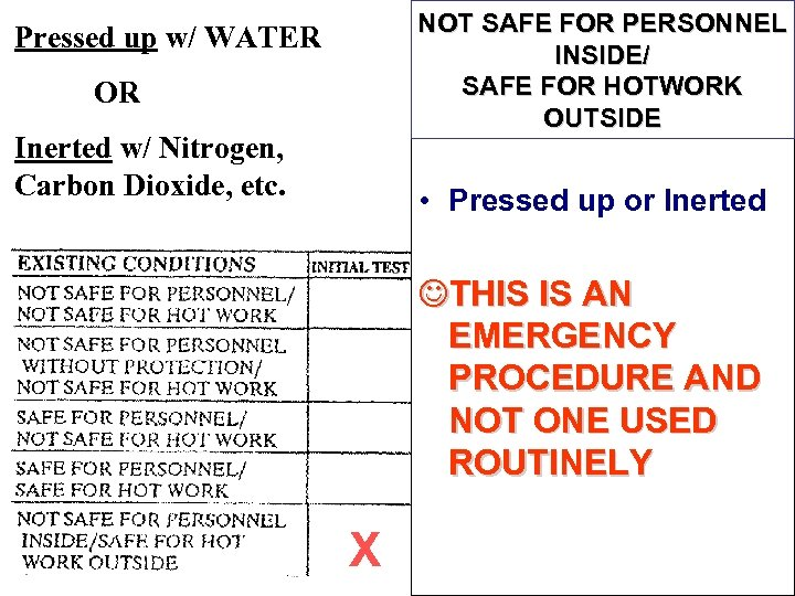 NOT SAFE FOR PERSONNEL INSIDE/ SAFE FOR HOTWORK OUTSIDE Pressed up w/ WATER OR