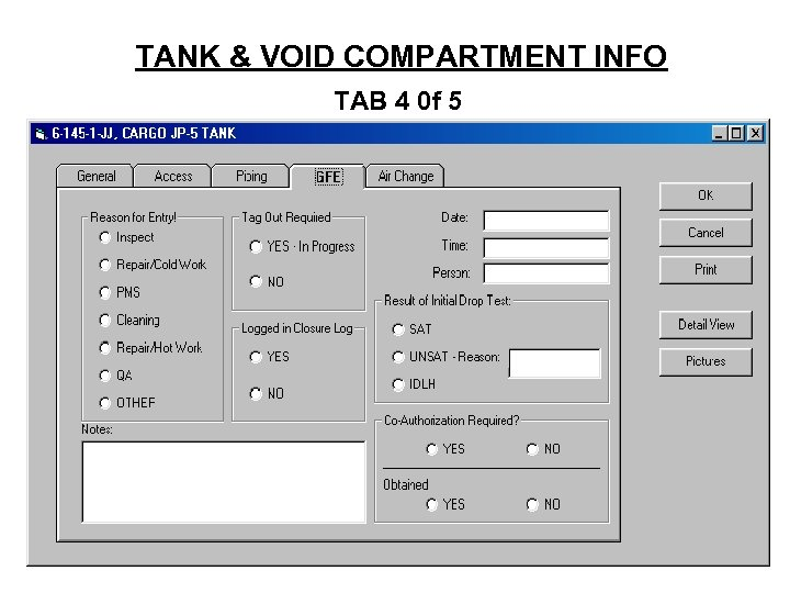TANK & VOID COMPARTMENT INFO TAB 4 0 f 5