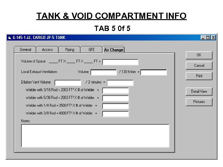TANK & VOID COMPARTMENT INFO TAB 5 0 f 5
