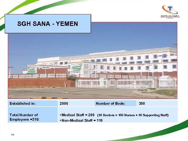 SGH SANA - YEMEN Established in: 2006 Total Number of Employees =310: §Medical Staff