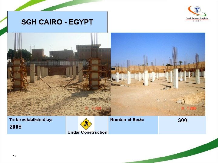 SGH CAIRO - EGYPT To be established by: Number of Beds: 2008 Under Construction